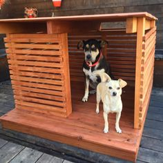 Redwood dog house by strongwoodstudio on etsy dog paws, little dogs, benche Modern Dog Houses, Cool Dog Houses, Dog House Plans, Puppy House, Wood Dog, Dog Runs, Outdoor Dog, Dog Crate, Little Dogs