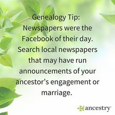 Newspapers were the Facebook of our ancestors.  #Newspapers #History #USHistory #unitedstates #Facebook #ancestry #familyhistory #familytree #heritage #roots #genealogy