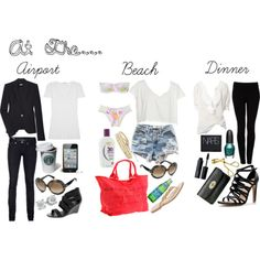 Chic travel outfits for the airport, beach and dinner.