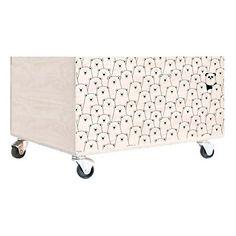 Caisse de rangement Panda en bois  blanc et noir  40 x 32 x 23 cm