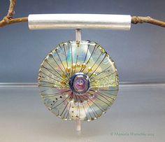 Lampwork Pendant handmade glass bead silver door manuelawutschke