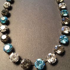 Crystal-Necklace-Choker-Comes-With-A-Sabika-Bag-W-BIN-Blue-Black-In-Hematite