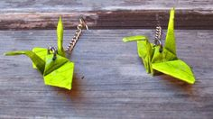 Handcrafted origami crane earrings lime green. $15.00, via Etsy.
