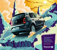 Fazauto Print Advert By G Marketing: New UP! Powerful and economic, 3 Ads Creative, Creative Advertising, Creative Posters, 3d Street Painting, Volkswagen Up, Name Card Design, Banner Design, Brand Advertising, Advertising Campaign