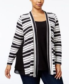Ny Collection Plus Size Layered-Look Cardigan - Black 3X