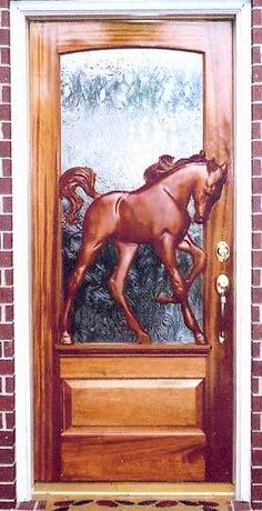 Custom Home Doors - I don't know that I have ever seen a customized, hand-made front door on a residence. At restaurants they are fairly common, but on a home? Equestrian Decor, Western Decor, Unique Front Doors, Cool Doors, Creation Deco, Barn Door Hardware, Door Knobs, Door Knockers, Wooden Doors
