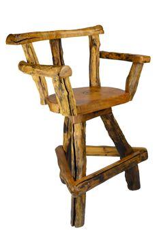 Sawtooth Teak Swivel Bar Chair