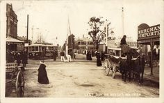 Last day of busses, Malvern, ca. The postcard is taken looking east corner… Melbourne Tram, Melbourne Suburbs, Australia Day, Victoria Australia, Melbourne Victoria, Horse Drawn, Historical Pictures, Vintage Images, Old Photos