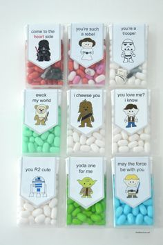 DIY Star Wars Valentines Tic Tacs Printables from The Idea Room. For more really good Valentine's Day DIYs for kids and adults go here and here. ***Could you do me a favor? If you find a broken link. Nerdy Valentines, Kinder Valentines, Valentine Day Crafts, Funny Valentine, Valentine Ideas, Printable Valentine, Homemade Valentines, Valentine Wreath, Valentine Box
