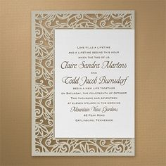This shimmery invitation fits nicely on a intricately laser cut gold shimmer base card.
