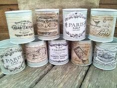 I like the decoupage of these labels as they match the idea of decorating peanut butter jars. I like the decoupage of these labels as they match the idea of decorating peanut butter jars. Decoupage Vintage, Vintage Decor, Vintage Diy, Decoupage Tins, Shabby Vintage, Tin Can Crafts, Diy And Crafts, Deco Podge, Decoration Shabby