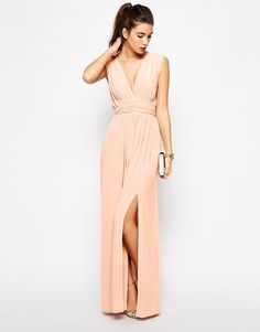 Image 4 of Love Plunge Neck Maxi Dress with Wrap Belt