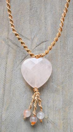 Rose Quartz Heart Choker / Macramé Necklace / by Macramedamare