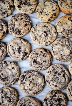 These cookies and cream cookies are flecked with chocolate chips and crushed Oreos, I mean, need I go on? Cookie Brownie Bars, Oreo Cookies, Shortbread, Freezer Cookies, Crushed Oreos, Cookies And Cream, Base Foods, My Favorite Food, Cookie Dough