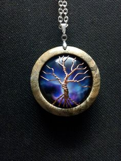 Tree of Life on Celestial Galaxy in Mango Wood + Chain + Free Shipping Worldwide, tree of life jewelry, reclaimed wood, spiritual jewelry by OurArtyCreations on Etsy