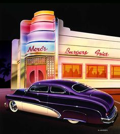 50s dinner's and cars | Paintings of 1950s Cars And Trucks | Bruce Kaiser Car Art