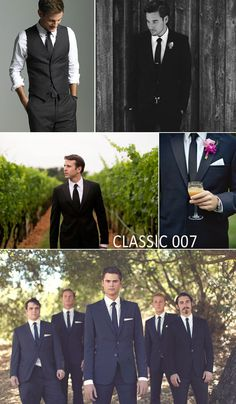 Classic 007 black and white tuxedo with a black tie or bowtie