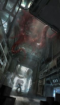 We have a selection of stunning sci-fi and fantasy concept art images by Swiss artist and designer Francesco Lorenzetti. Space Fantasy, Sci Fi Fantasy, Fantasy World, Dark Fantasy, Cyberpunk, Arte Sci Fi, Sci Fi Art, Sci Fi Horror, Horror Art