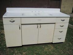 antique vintage youngstown kitchen cabinet sink base wdouble basin sink 1950s - Kitchen Sink Cupboards