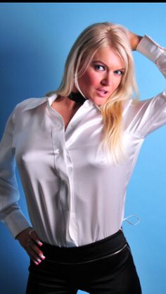 Sexy Blouse, Blouse And Skirt, Blouse Dress, White Satin, Silk Satin, White Shirts, Silk Shirts, Satin Underwear, Satin Bluse