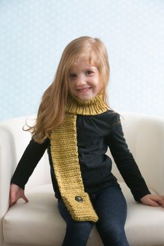 Children's Pocket Scarves - This quick and easy scarf includes two small pockets for your child to store favorite finds. Personalize the scarf by including coordinating or contrasting buttons. From I Like Crochet's October 2014 issue