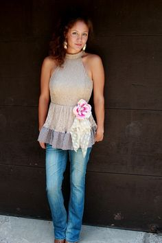 REVIVAL Upcycled Women's Shirt Blouse Shabby Chic by REVIVAL, $37.99