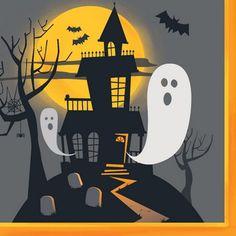 Attraktive og farverige spøgelseshus servietter til din næste halloween fest.