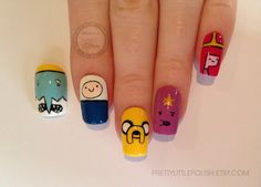 SALE Adventure time fake nails Adventure time nails by Nails Now, How To Do Nails, My Nails, Funky Nails, Cute Nails, Adventure Time Nails, Kawaii Nails, Manicure Y Pedicure, Diy Makeup