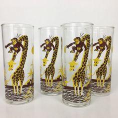 50s Federal Monkey Giraffe Drinking Glasses Set of 4 Mid Century Tumbler Vintage #Federal #Chimney
