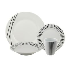 @Overstock - This casual and contemporary porcelain dinnerware set looks awesome as is, or have fun mix and matching this pattern with others. This set includes matching dinner plates, salad/dessert plates, bowls and mugs.http://www.overstock.com/Home-Garden/Elements-16-piece-Dinnerware-Set/7317862/product.html?CID=214117 $41.39