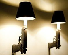 Ceramic Gun Lights by Ryan Weigner I can c these in treys man cave Man Cave Basement, Man Cave Garage, Decoration Chic, Ultimate Man Cave, Gun Rooms, Man Cave Home Bar, Creation Deco, Woman Cave, Candelabra Bulbs