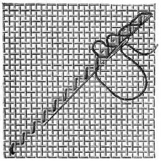 FIG. 855. TRIANGULAR TURKISH STITCH WORKED DIAGONALLY. FIRST JOURNEY COMPLETED AND SECOND BACK, BEGUN. Embroidery Applique, Embroidery Stitches, Sewing Hacks, Sewing Tips, Linen Stitch, Sewing Needles, Bargello, Fabric Manipulation, Knots