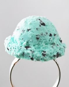 Mint Chocolate Chip Scoop of Ice Cream - Food Jewelry - Dessert Jewelry - Polymer Clay Jewelry - Adjustable Statement Ring