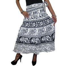 Mogulinterior Wrap Skirt White Ethnic Printed Long Hippy Beach Wear Sarong Wrap Dress