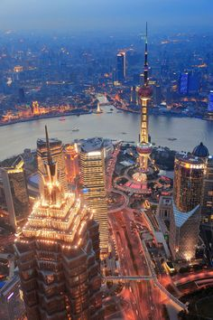 Shanghai skyline in the sunset.