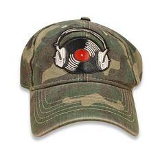Gift For Girlfriend - Baseball Cap, Handmade, Embroidered, Hat, Music, Headphones, Vinyl Records, Camo - Turntable/DJ - Great Gift Idea!