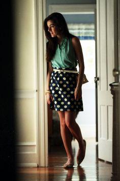 polkadot skirt, turquoise top
