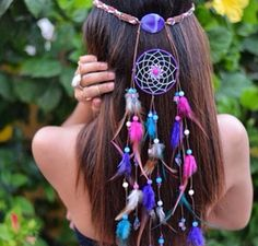Delilah Bohemian Headband-pink and purple dream catcher headband … Mais Look Boho Chic, Gypsy Chic, Hippie Gypsy, Hippie Hair, Chic Chic, Purple Dream Catcher, Bohemian Headband, Gypsy Headpiece, Chain Headpiece