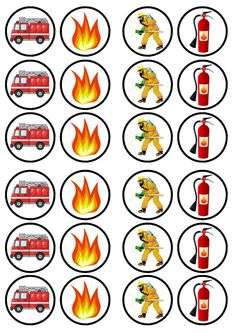 Fireman Party, Firefighter Birthday, Fireman Sam, Fireman Cupcakes, Fire Truck Cupcakes, 4th Birthday Parties, Birthday Party Decorations, Printable Designs, Kids Education