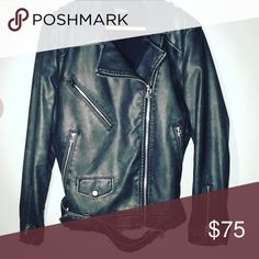 Topshop moto jacket sz 10 Disclaimer: This jacket is way more gorgeous in person. Thick and warm in a slightly grayish black. Longer jacket rather than the typical cropped moto. Faux leather. Topshop Jackets & Coats