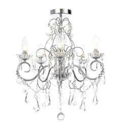 Buy the Vara 5 Light Bathroom Chandelier in Chrome from Litecraft. We stock a range of contemporary bathroom chandeliers with free UK delivery. Bathroom Chandelier, Bathroom Ceiling Light, 3 Light Chandelier, Bathroom Lighting, Ceiling Lights, Bathroom Light Fittings, Bathroom Sinks, White Bathroom, Pendant Lights