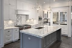 white marble kitchen countertops ultimate white kitchen cabinets with white marble countertops kitchen white marble l White Marble Kitchen, Gray And White Kitchen, Carrara Marble Kitchen, Marble Kitchen Ideas, Calcutta Marble, Kitchen Ideas In Grey, Kitchen Black, Granite Kitchen, Kitchen Colors