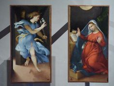 Originally the work of art was a triptych of three panels. The central panel is missing from the time of Napoleon's invasion. It was a panel depicting St. John in Patmos. As we know the angel is never next to the Virgin Mary. There is always something separating them.     Annunciation (1526) by Lorenzo Lotto, Pinacoteca Civica, Jesi, Italy