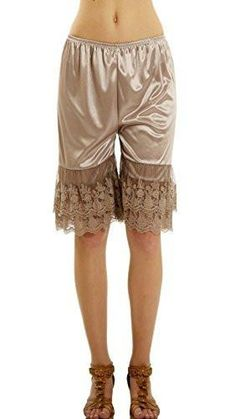 [Shop Lev] Women's Double Lace Snip-in Satin Pettipants, Pant Slip, Bloomer