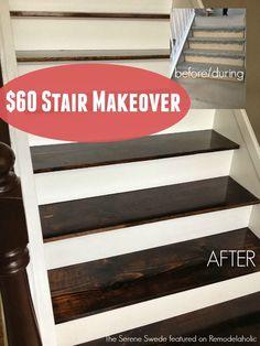 Remodelaholic   $60 Carpet to Hardwood Stair Remodel