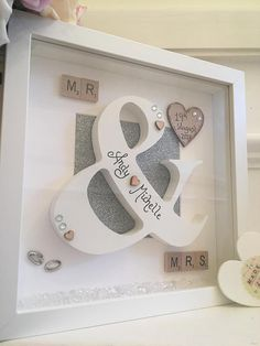 Gorgeous Mr & Mrs Frame with Wooden Scrabble letters, a wooden &, with a sparkly glitter backgrou Box Frame Art, Shadow Box Frames, Diy Frame, Handmade Wedding Gifts, Personalized Wedding Gifts, Handmade Baby, Wedding Gifts For Bride And Groom, Scrabble Crafts, Scrabble Letters