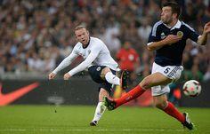 England v Scotland: Wayne Rooney shoots
