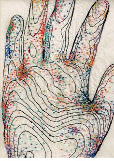 Rebecca Harris - embroidery hand - The piece represents all the microbes that inhabit the surface of the skin.