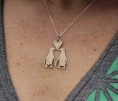 Penguin Love Necklace by audreylaine on Etsy, $65.00