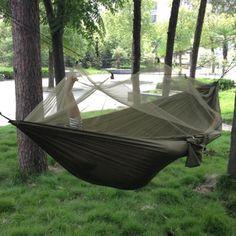 ポータブル高強度パラシュート生地キャンプハンモック吊りベッドで蚊帳睡眠ハンモック屋外ハンモック